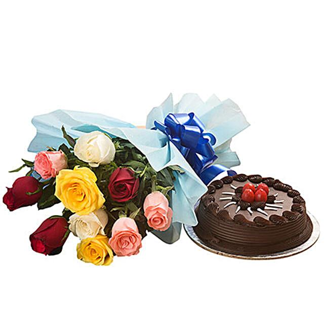 Valentine Chocolate Cake N Roses