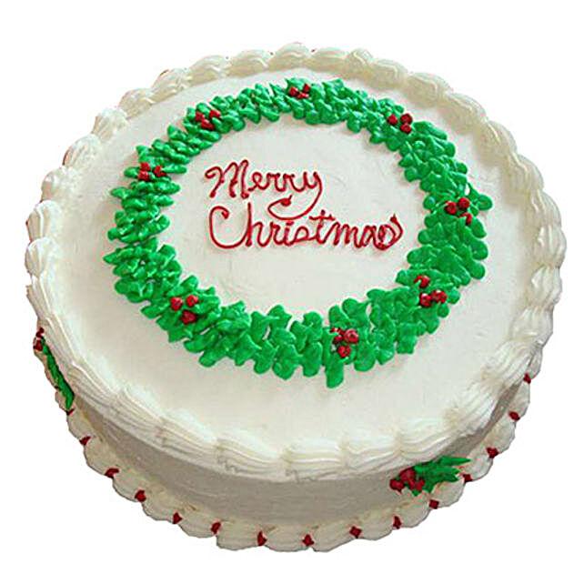 White Merry Christmas Cake 1kg Black Forest Eggless