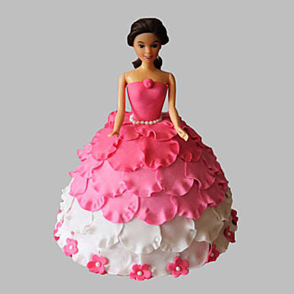 White N Pink Floral Barbie Cake 2kg Eggless Butterscotch