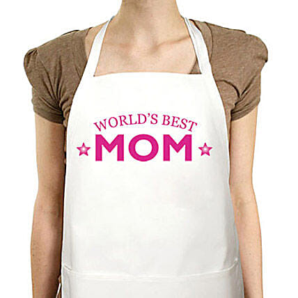Apron For Best Mom-quote printed white apron