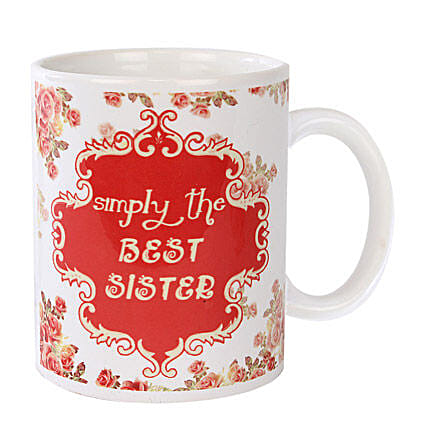 Best Sister Coffee Mug-White and Red Color Coffee Mug ,Simply the best sister,printed on it:Bhai Dooj Gifts to Agra