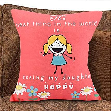 Blessed Happiness-1 Pink Colored 12x12 inch Cushion