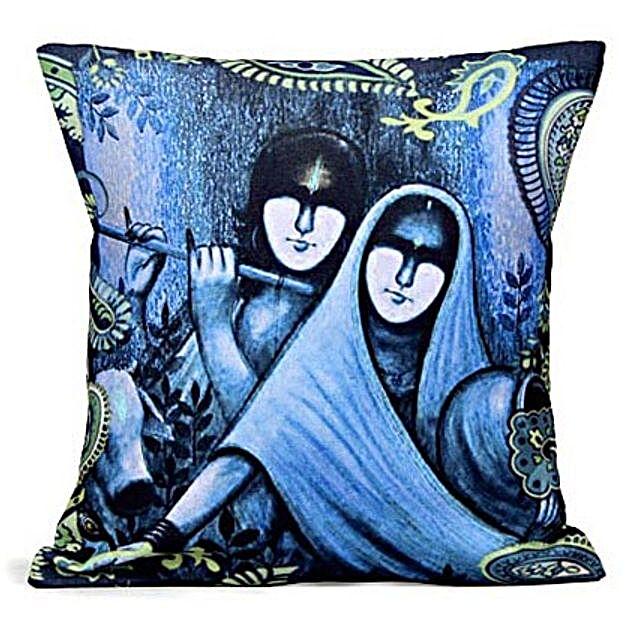 Blue Radha Krishan-12X12 inches cushion is available