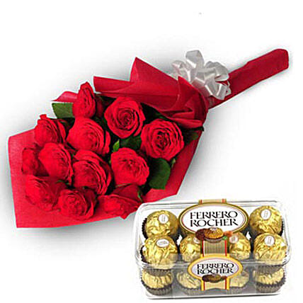 Charming Roses - Bunch of 12 Red Roses in paper packing with 200gm box of Ferrero Rocher Chocolate.