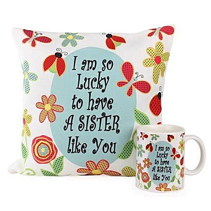 Cushion Mug For Sisters-One 12X12 inches Cushion,1 Mug,both with the message,I am so lucky to have a sister like you:Cushions and Mugs Combo