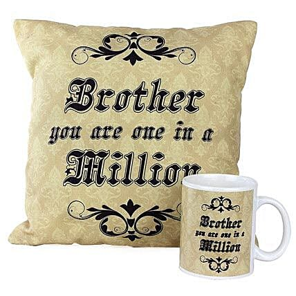 One In Million Brother Combo-1 Cushion,1 Mug,both with message,Brother you are one in a million:Cushions and Mugs Combo