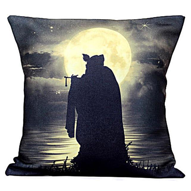 Mesmerizing Lord Krishan Cushion- Designed in 12X12 inches:Send Spiritual Gifts