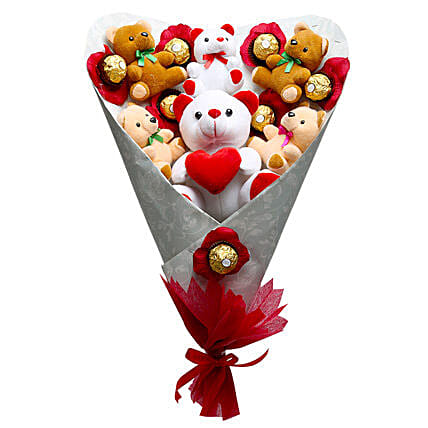 Hugs n Kisses-1 big,5 small-size soft toys,8 Ferrero Rocher chocolates and artificial red roses:Thank You Soft toys