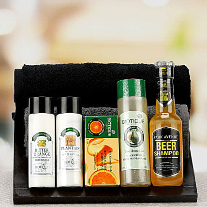 Combo of shampoo, aftershave balm and soap
