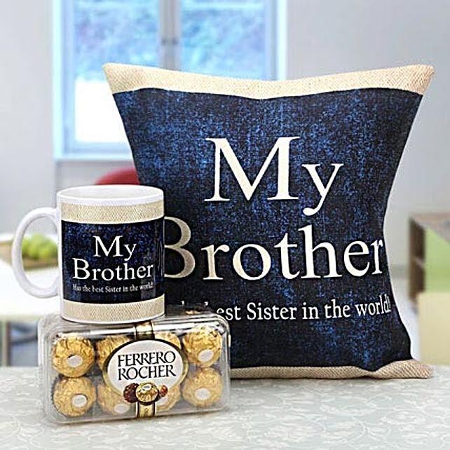 Combo of cushion, mug and chocolates for bro