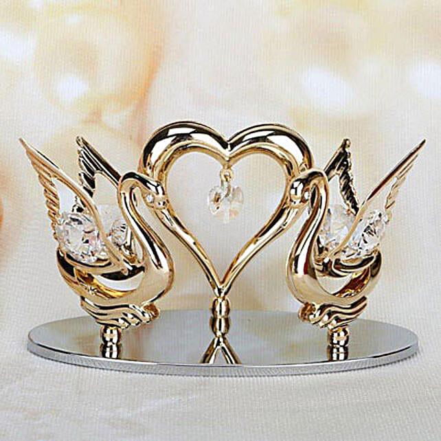 Swarovski swans and heart