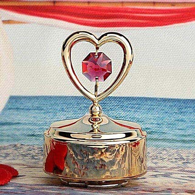 Swarovski golden musical base with heart