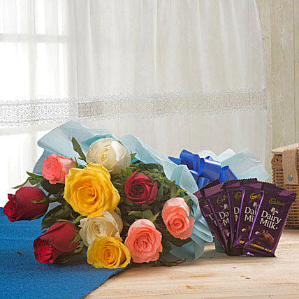 Flowerly Song - Bunch of 10 Mix colour roses and 5 Cadbury Dairymilk chocolates 14 grams each.