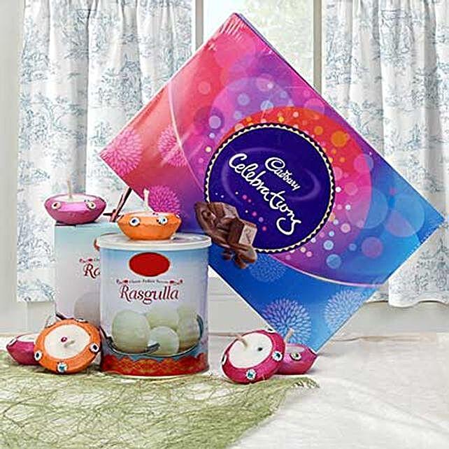 Chocolates, sweetrs and diyas:Send Diyas
