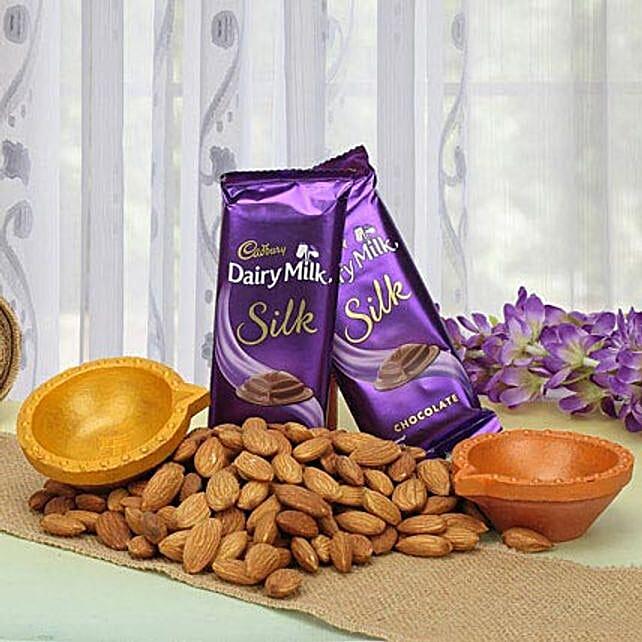 Chocolates, dry fruits and diyas combo