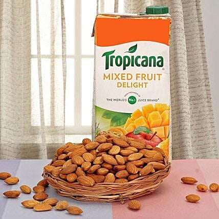 Almonds and mixed fruit juice combo