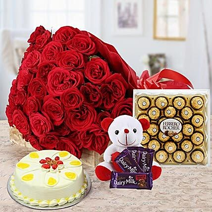 Tower Of Love - Bunch of 40 Red roses with chocolates, Soft toy, 300gm Ferrero rocher chocolate box, 500gm Butter Scotch cake.