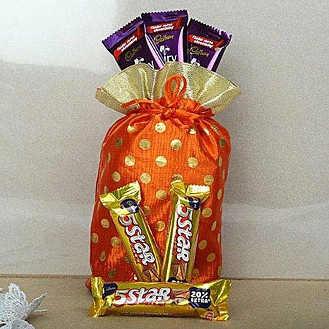 Red Chocolates Potli-3 Cadbury Five Star Chocolates 24 grams each,3 Cadbury Dairy Milk Chocolates 17grams each