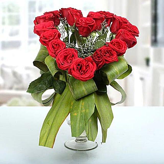 Red rose arrangement in samadhan vase:Heart Shaped Flower Arrangements