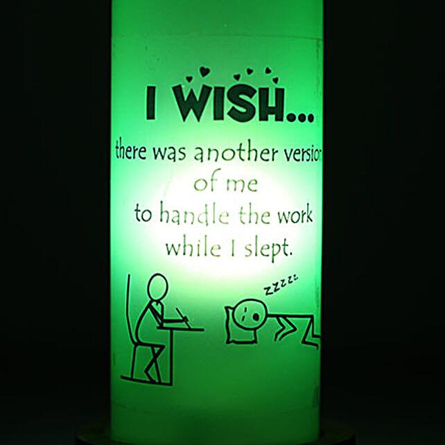 Lazy Me Lamp-green coloured i wish bottle lamp:Bottle Lamp