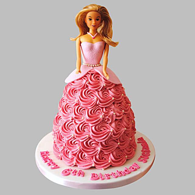 Barbie Doll Cake for Little Princesss  2kg:Barbie Doll Cake