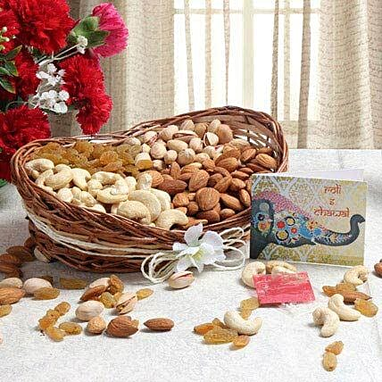 Mix dry fruits in a cane basket