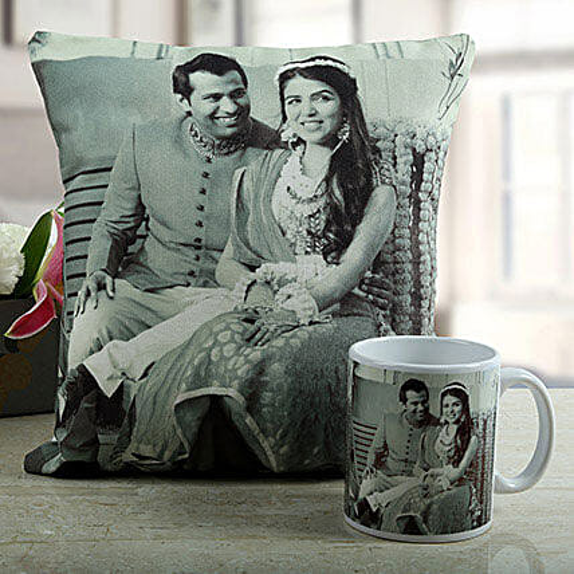 Personalised cushion with printed personalised mug:Send Gifts to Tiruvallur