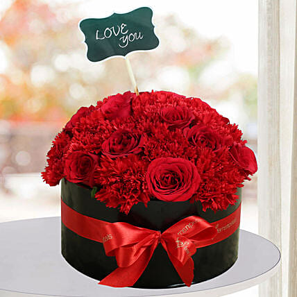 Expressive Red Flowers Gift Decorative Red Roses Ferns N Petals