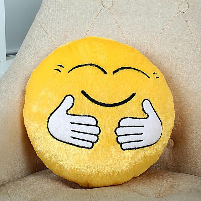 Hugging Smiley Cushion Yellow