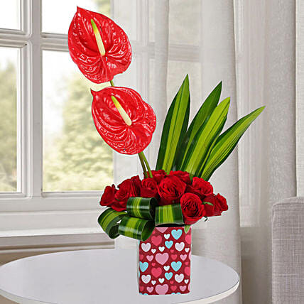 Mixed Flower Arrangement with Leaves:Anthuriums