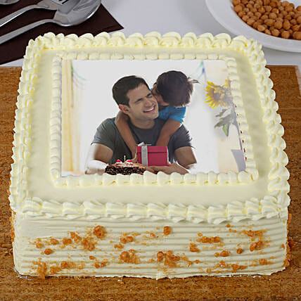 Yummy Butterscotch Photo Cake For Dad 1kg