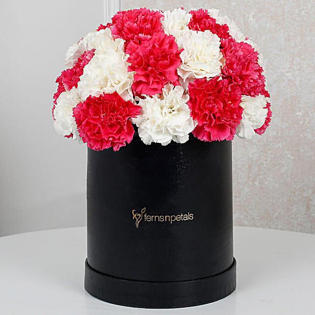 Lovely White N Pink Carnations Arragment
