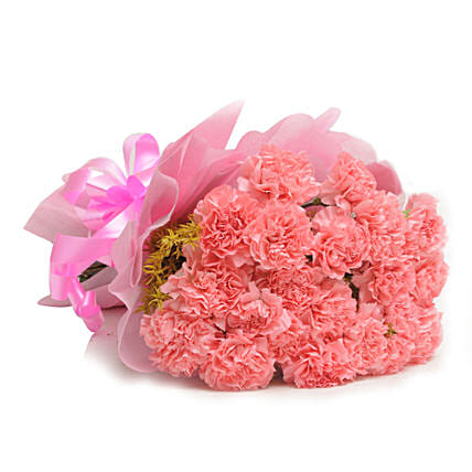 15 Pink Carnations - Bunch of 15 Pink Carnations in pink paper packing.