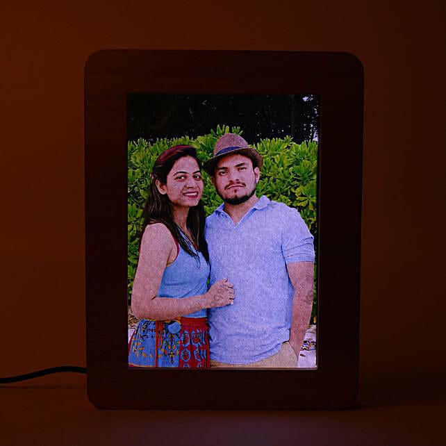 Personalised LED wooden photo frame