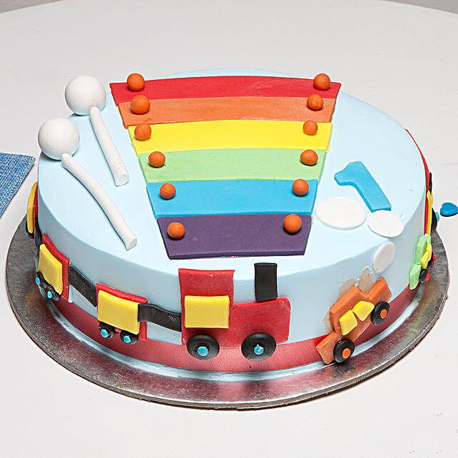 Cool Train First Birthday Vanilla Cake 1 Kg Eggless