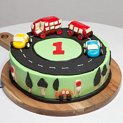 Race Track First Birthday Vanilla Cake 3 Kg Eggless