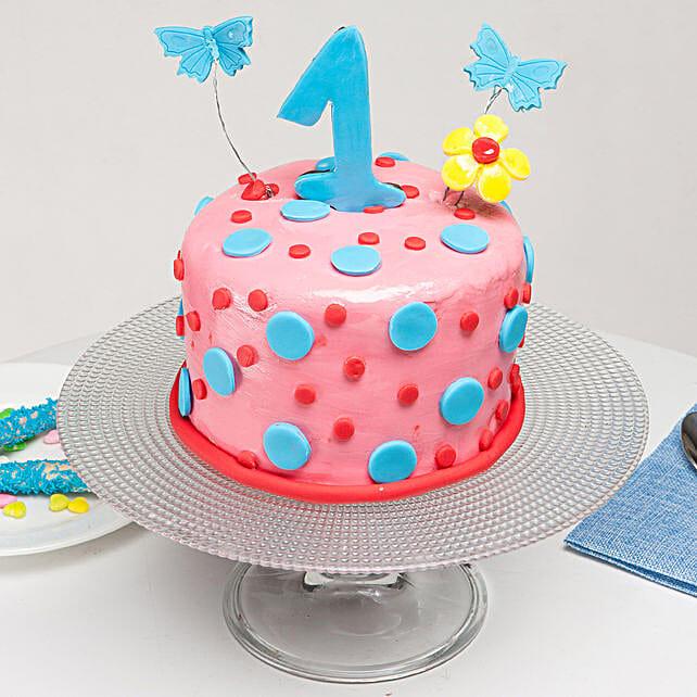 Admirable Special First Bday Vanilla Cake 1 Kg Gift Designer Cake Online Personalised Birthday Cards Veneteletsinfo