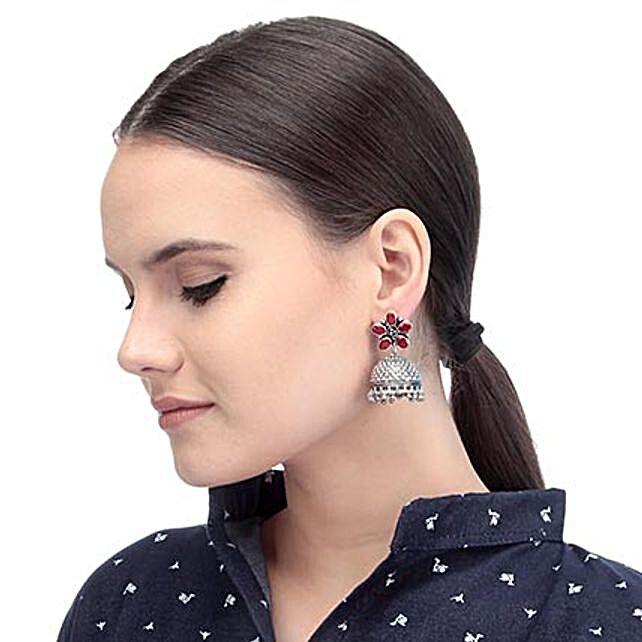 dazzling red stone earrings