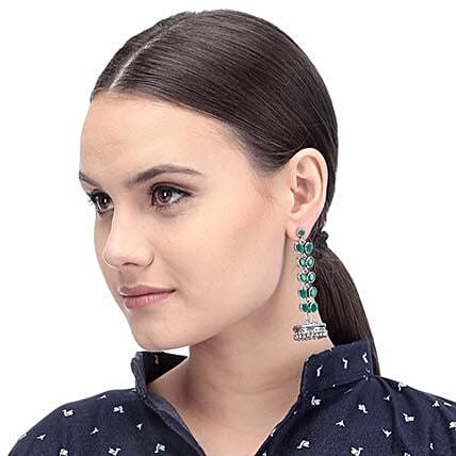 green artificial stone earrings