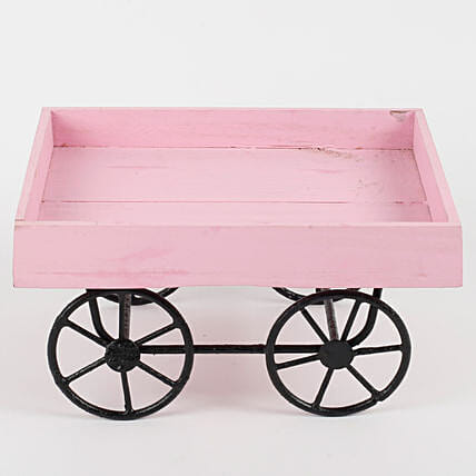 Cart Shaped Wood & Metal Vase Pink