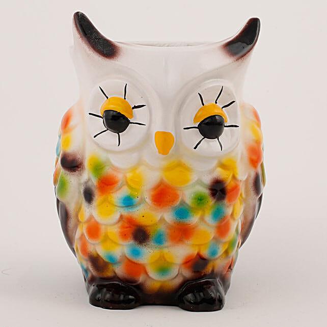 multicolor owl shape vase