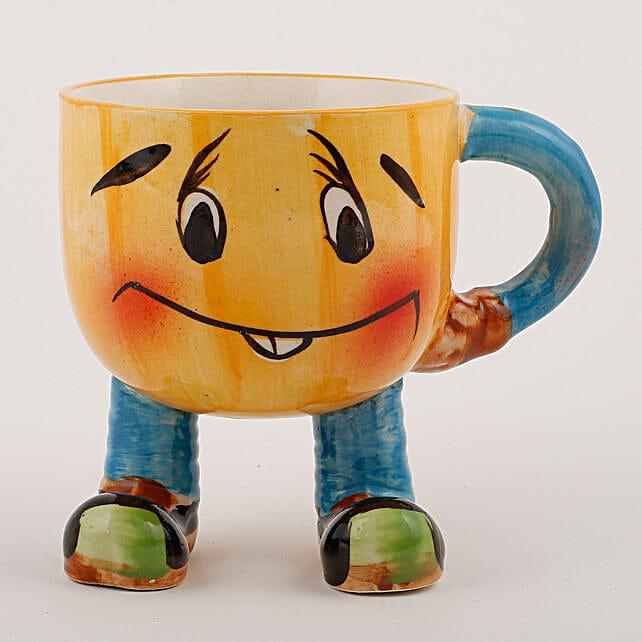 Smiley Mug Ceramic Vase Yellow