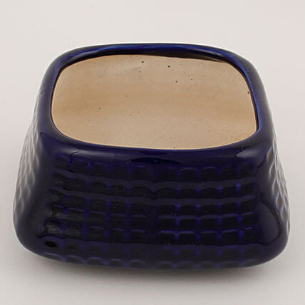 Square Shaped Fancy Ceramic Vase Navy Blue