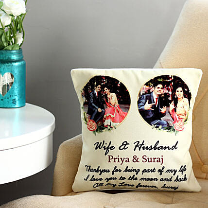 Couple cushion:Send Personalised Cushions for Wedding