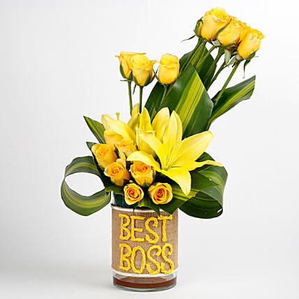 Yellow Roses & Asiatic Lilies Arrangement For Best Boss