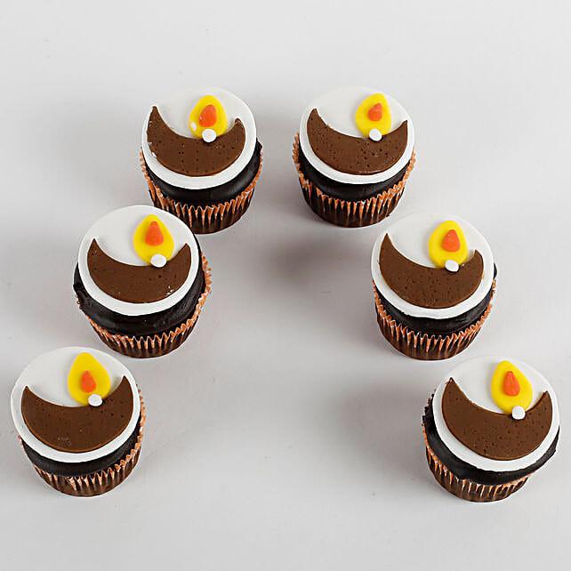 Decorative Diya Vanilla Cup Cakes 9 Pcs