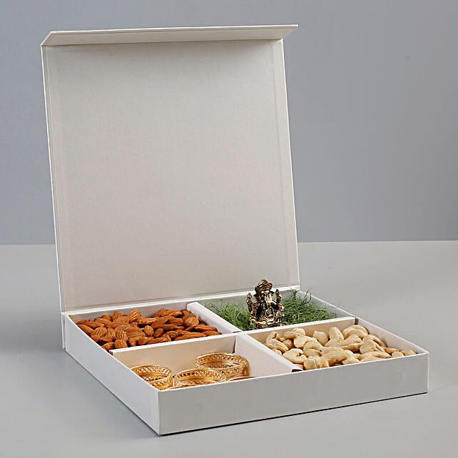 Dry Fruits & Antique Metal Ganesha Idol Gift Box