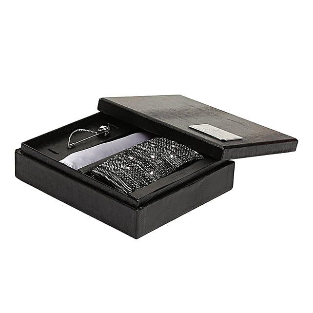 Alvaro Castagnino Grey & White Necktie Pocket Square And Lapel Pin Gift Set for Men