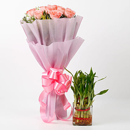 online pink roses bouquet or plant
