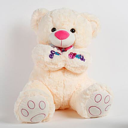 Large Teddy Bear For You Cream